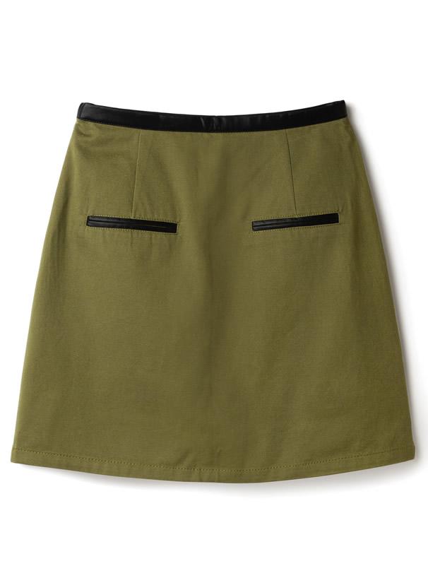 異素材台形ミニスカート