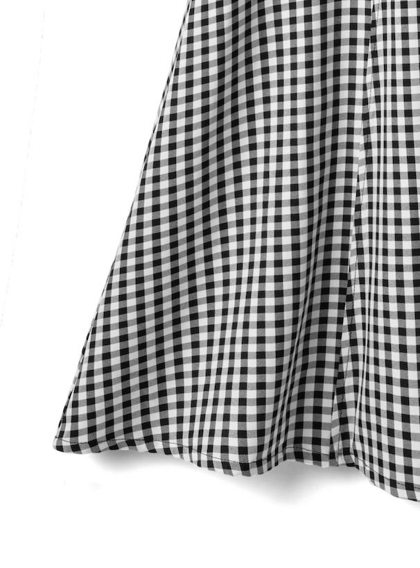 ベルト付きギンガムチェックフレアスカート