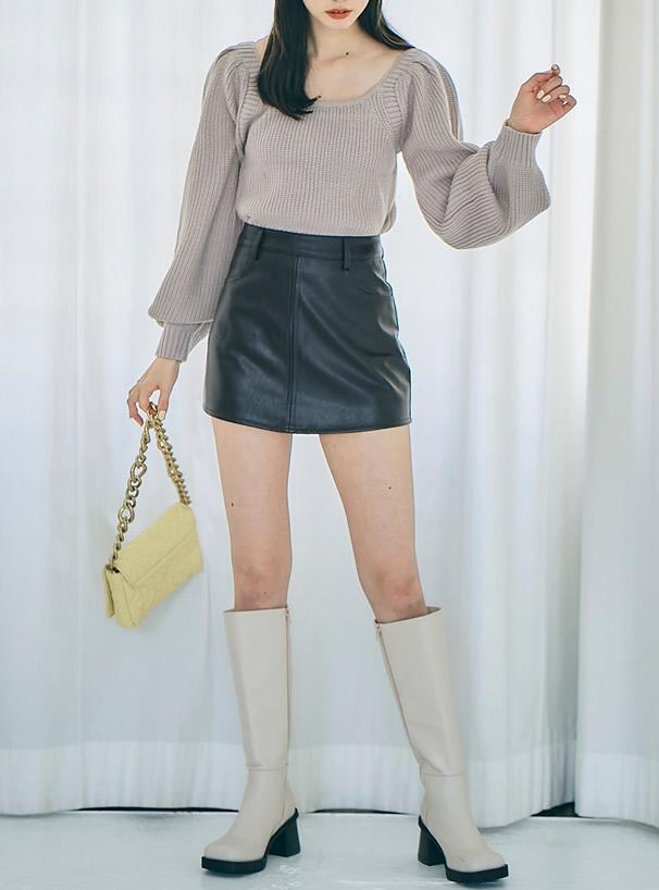 インパン裏地付きレザーミニスカート