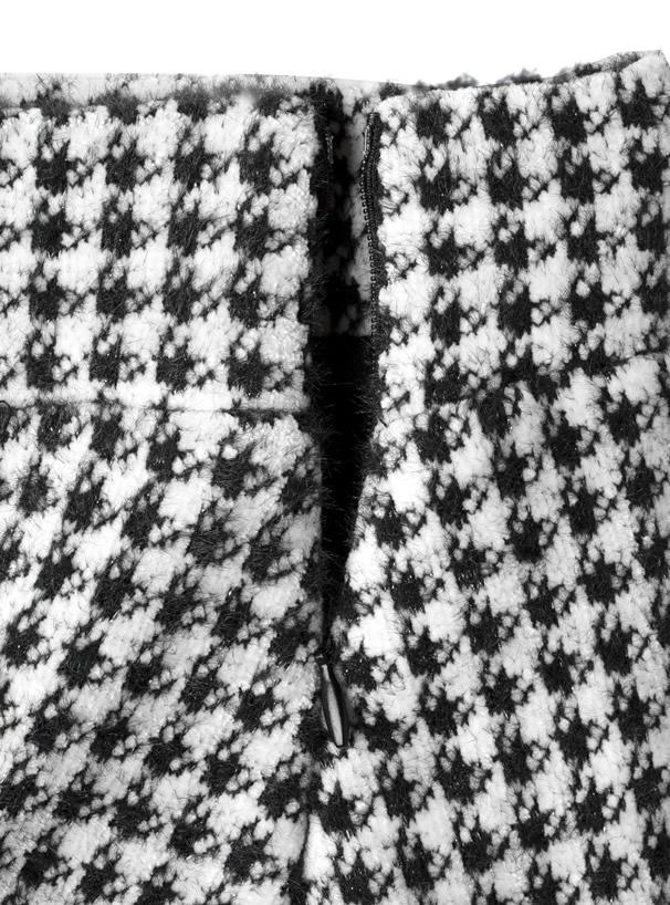 インパン裏地付き千鳥柄ツイードスリット台形ミニスカート
