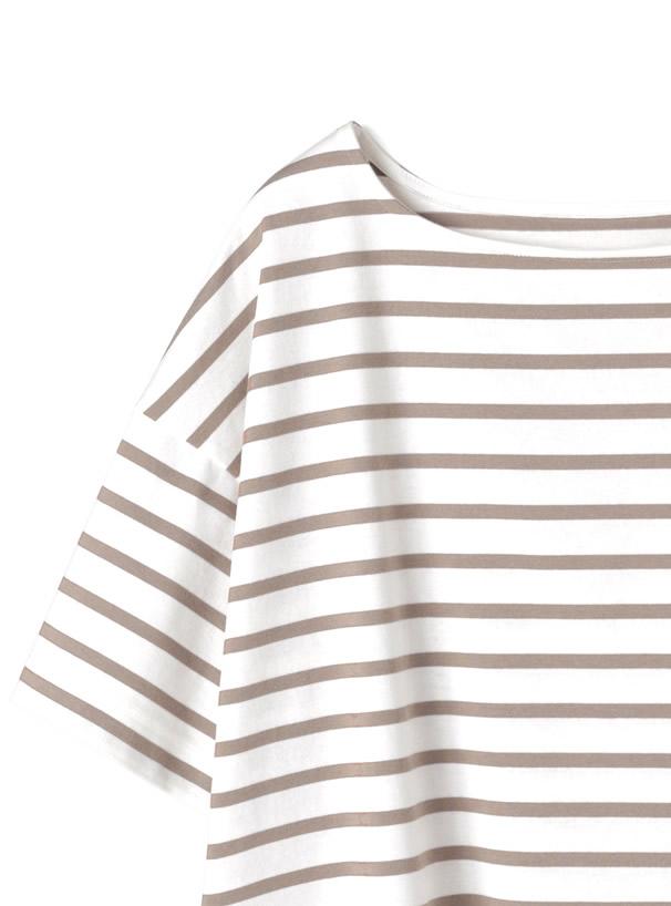 袖ロールアップボーダーTシャツ