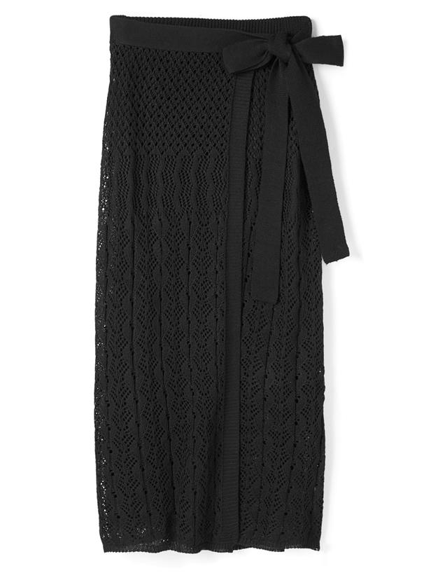 透かし編みニットラップスカート