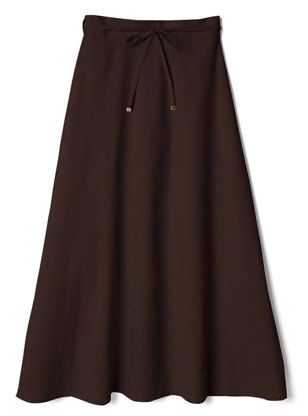 リネン混リボンベルト付きフレアスカート