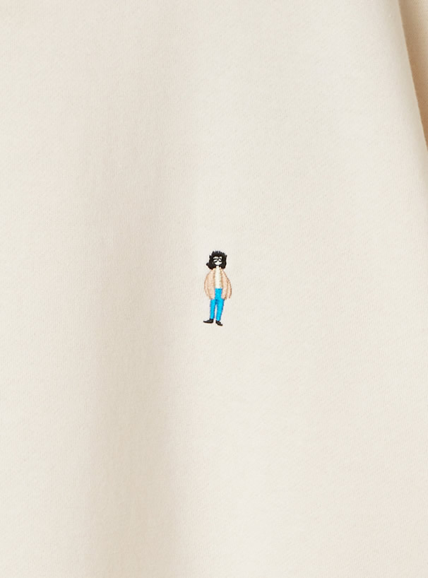 USAコットン裏起毛ワンポイント刺繍スウェットトップス