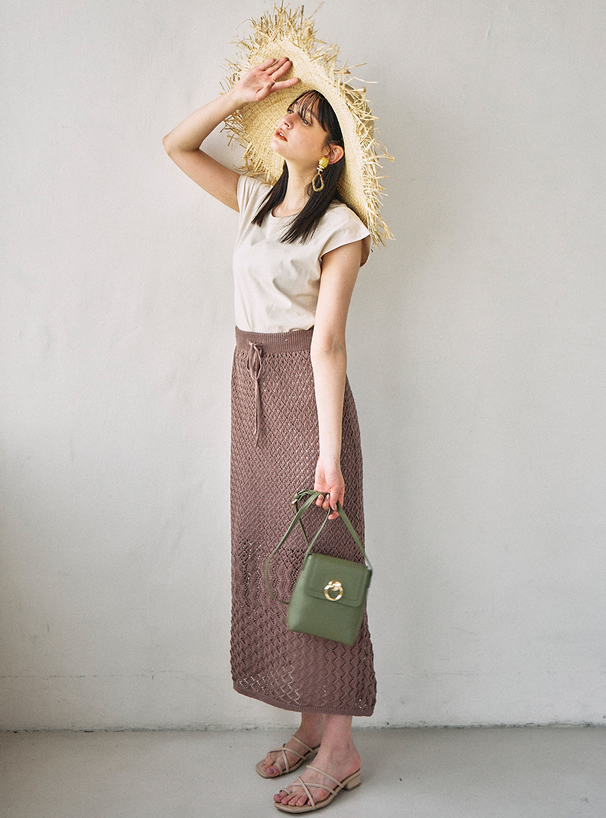 透かし編みバックスリットニットスカート
