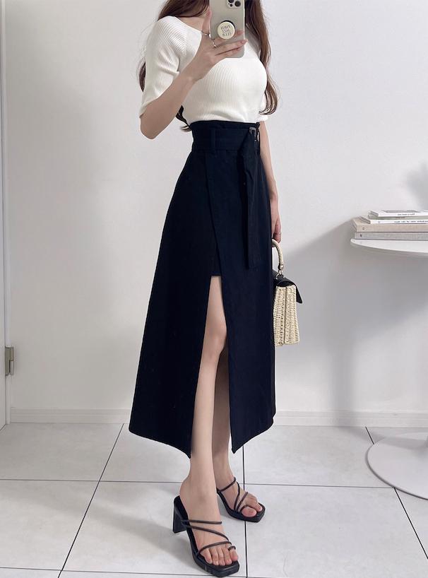 ベルト付きレイヤード風スリットスカート