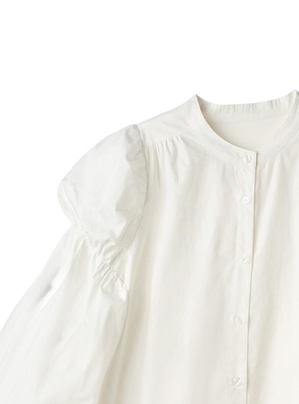 ギャザースリーブバンドカラーサイドスリットシャツ