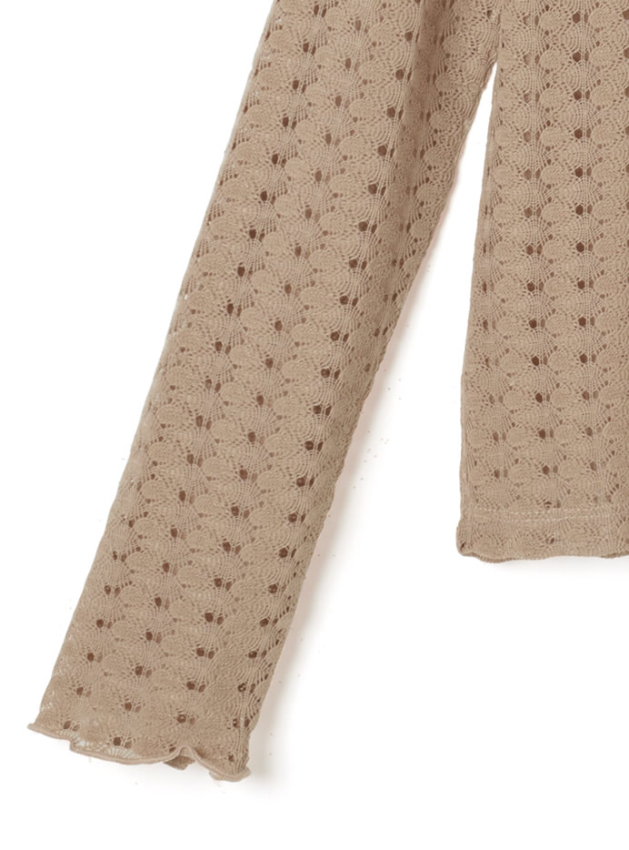 透かし編みメロウフリルトップス