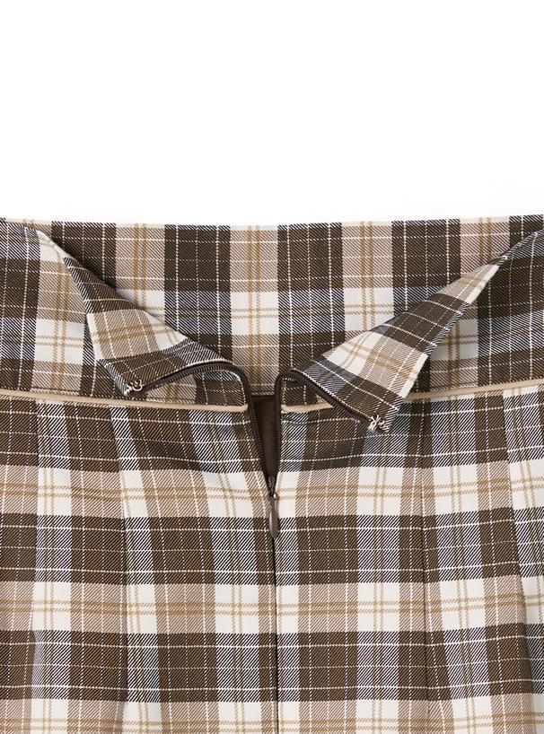 チェック柄フロントスリットタイトスカート