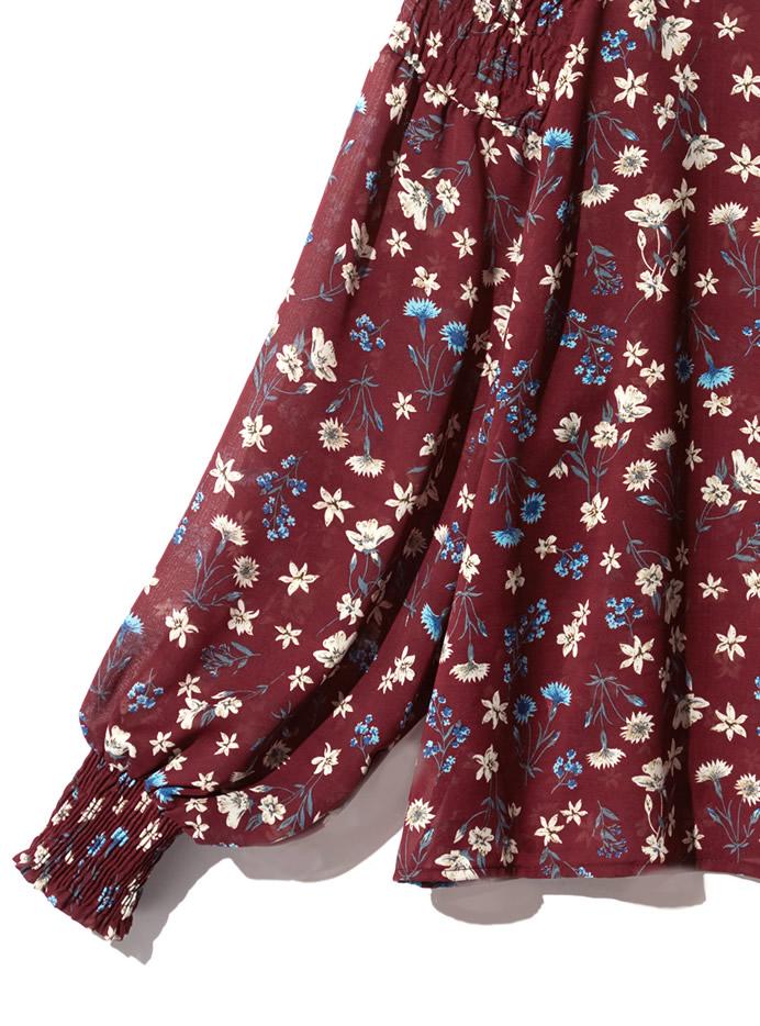 ボリューム袖ヴィンテージ花柄ブラウス