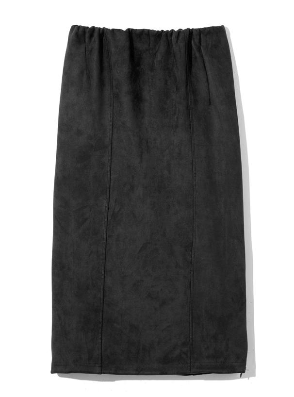 裾ファスナーデザインスエードタイトスカート