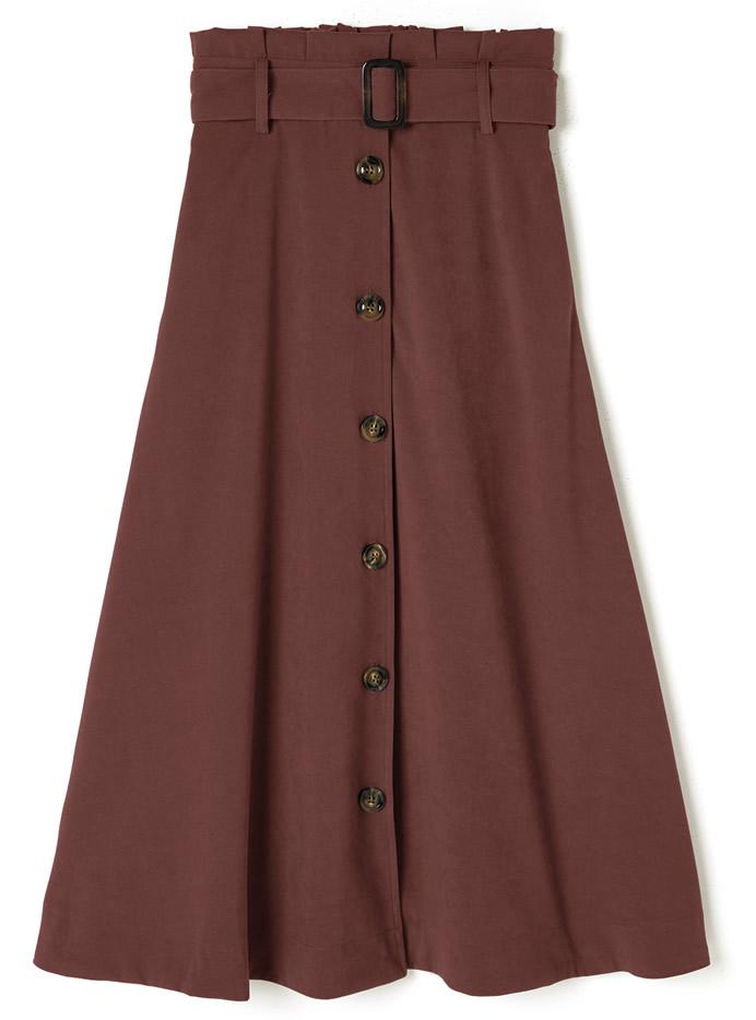 ベルト付きフロントボタンスカート