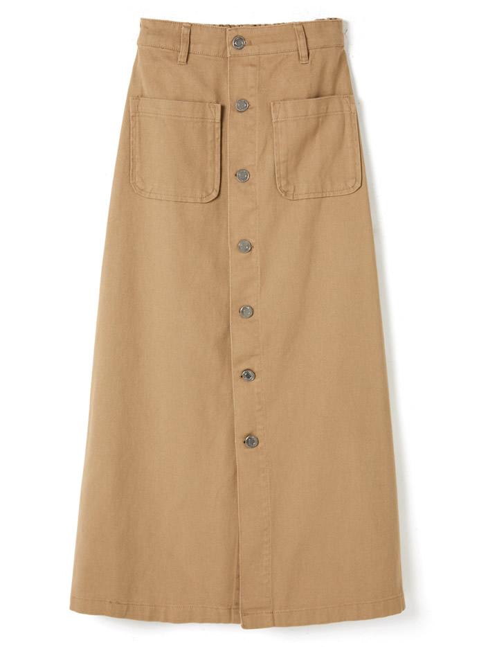 前ボタンポケットツイルスカート