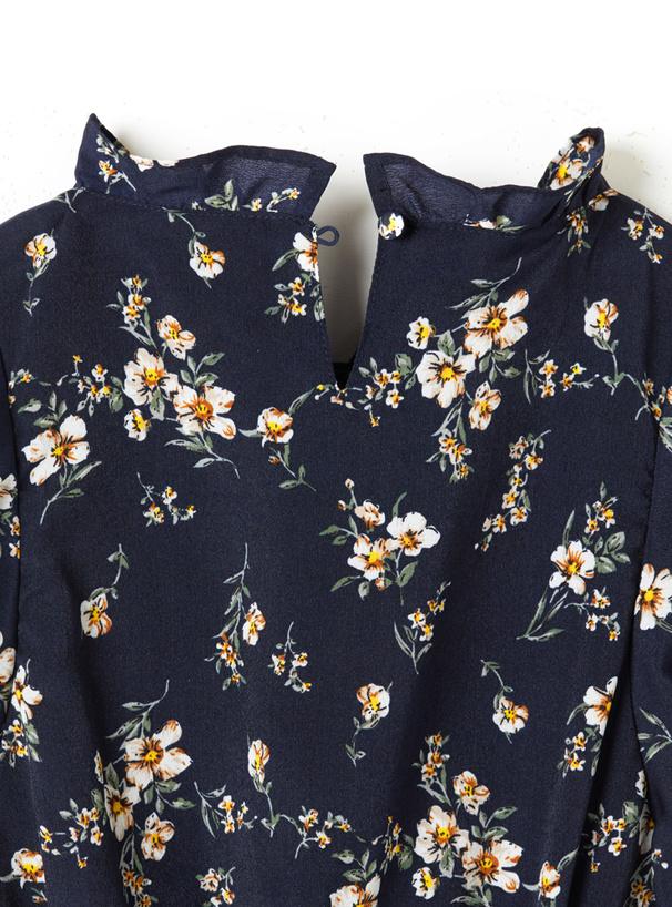 花柄ノースリーブフリルワンピース