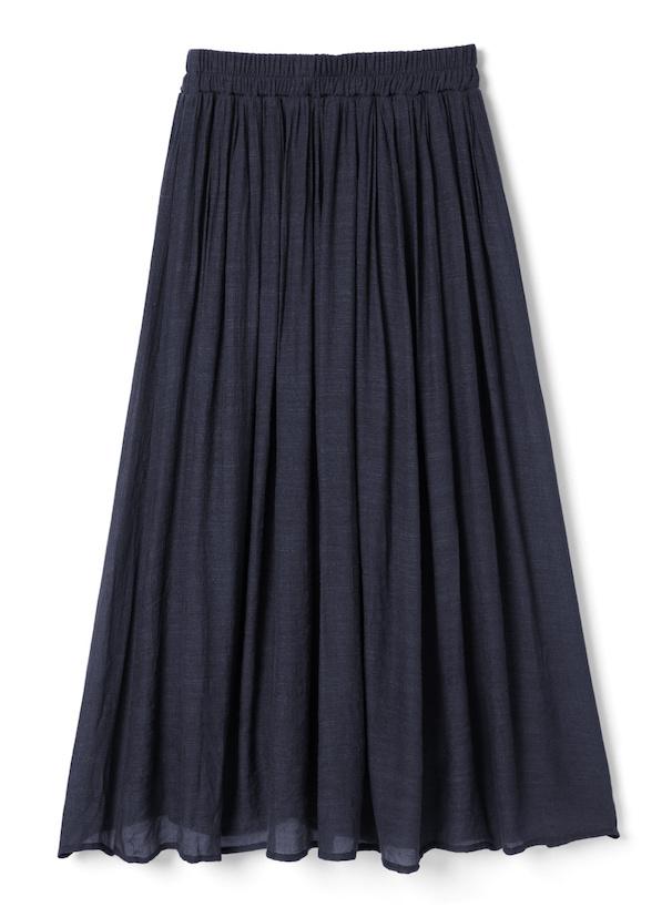 ウエストギャザー楊柳スラブマキシスカート