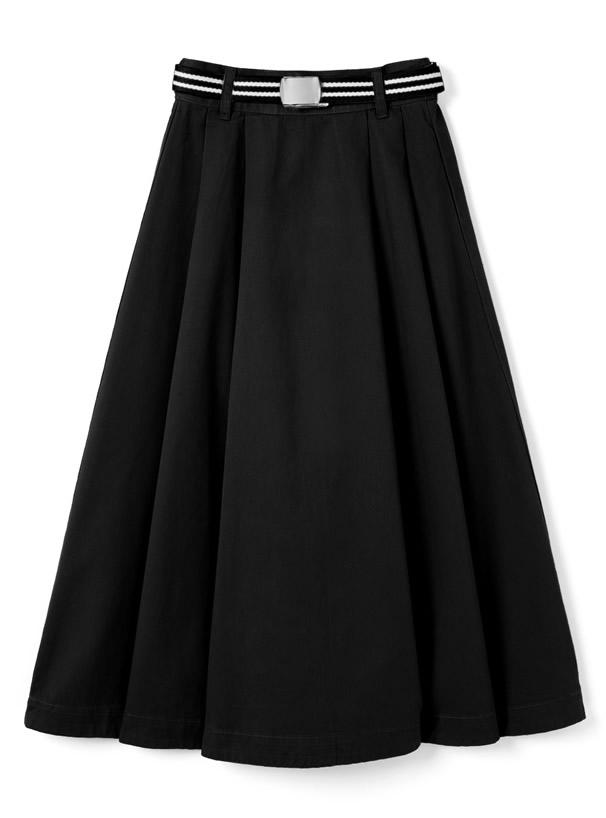 ベルト付きチノツイルフレアスカート