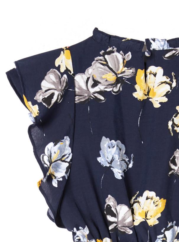 ノースリーブ花柄フリルワンピース