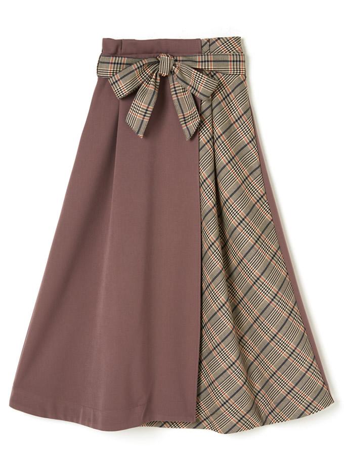 リボンベルト付きチェック切り替えスカート