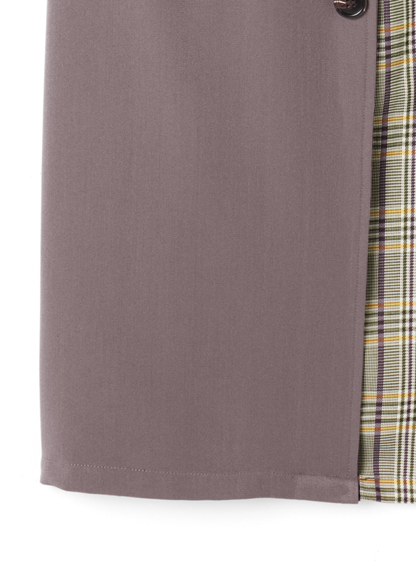 トレンチ風ベルト付チェック切り替えタイトスカート