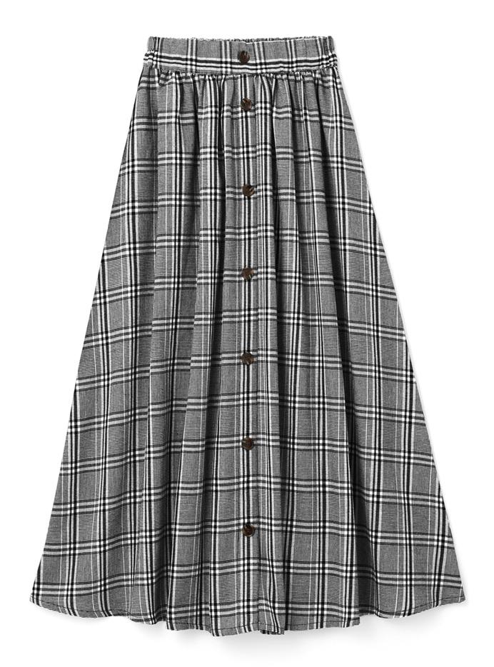 フロントボタングレンチェックフレアスカート