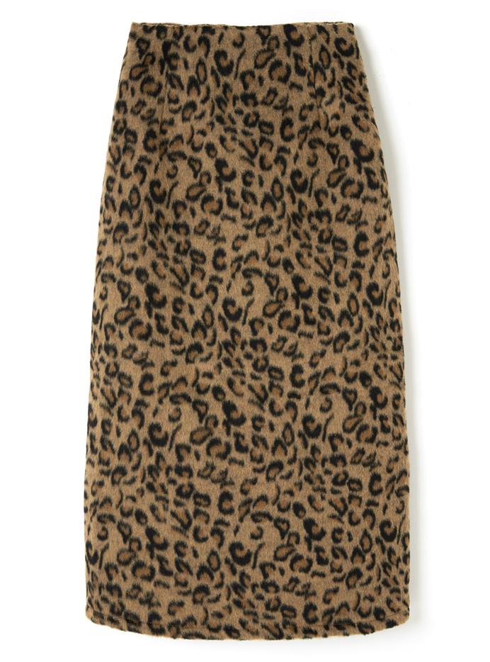 バックスリットレオパードタイトスカート