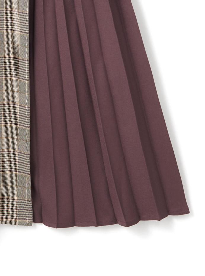 ベルト付きプリーツXチェック切り替えデザインスカート