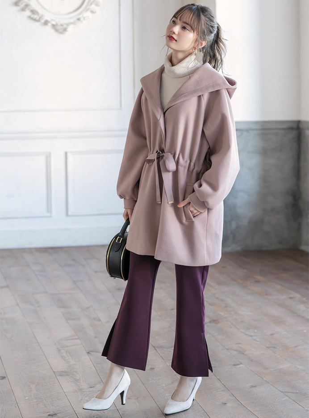 裾スリットフレアパンツ