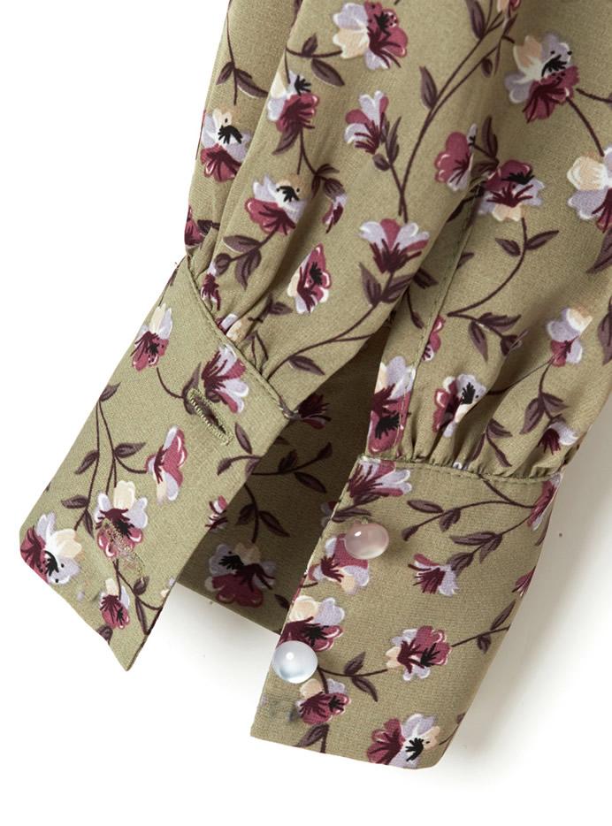 リボンベルト付き花柄ロングワンピース