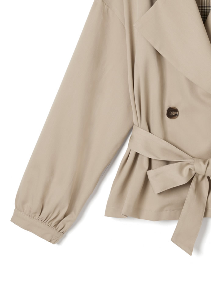 リボン付きチェック配色ショートトレンチコート