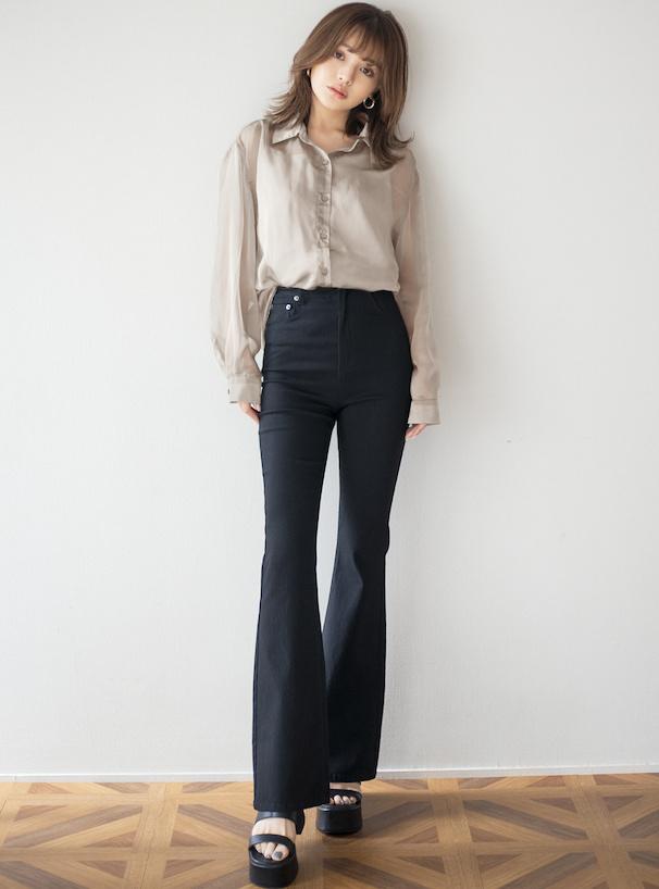 キャミ付きシアーシャツ