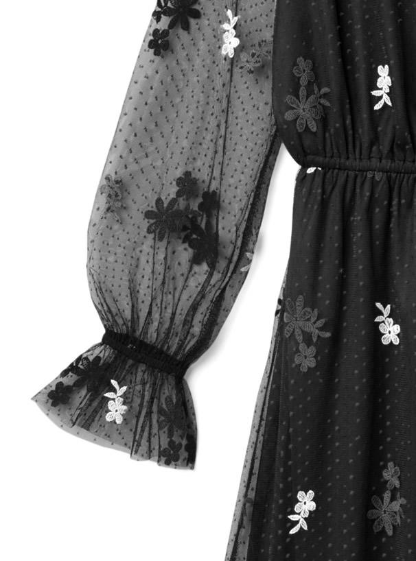 ドットXフラワー刺繍チュールワンピース