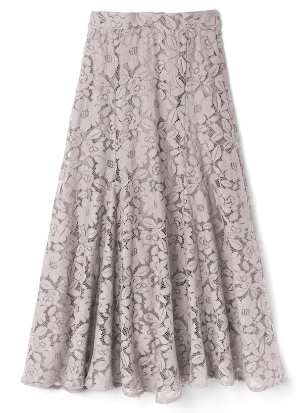 エアリーカット花柄レーススカート