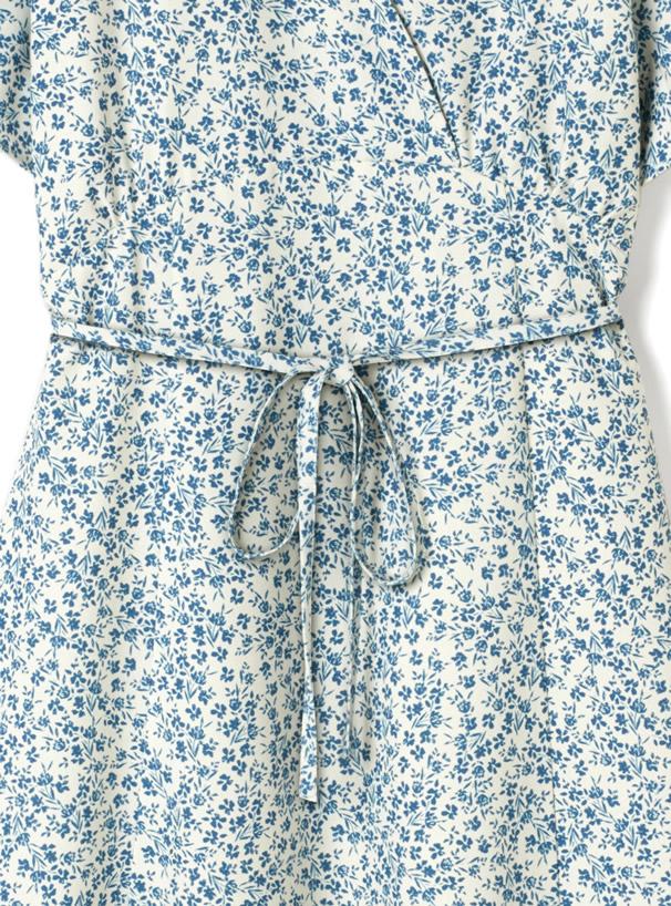 リボン付きカシュクール花柄ワンピース