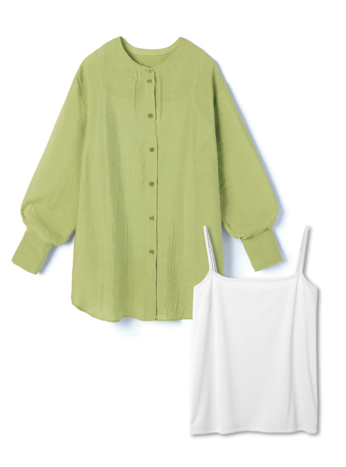 キャミ付きノーカラーシアーシャツ