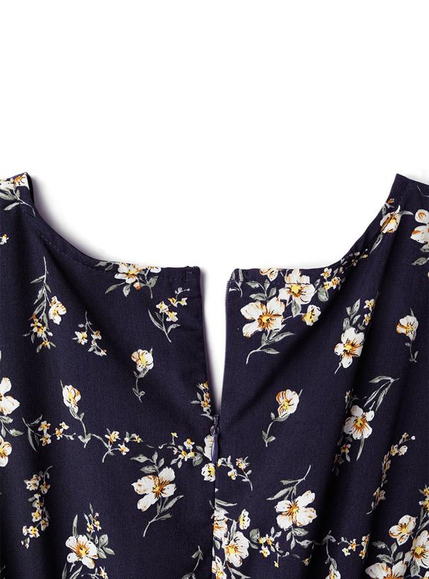 リボン花柄カシュクールワンピース