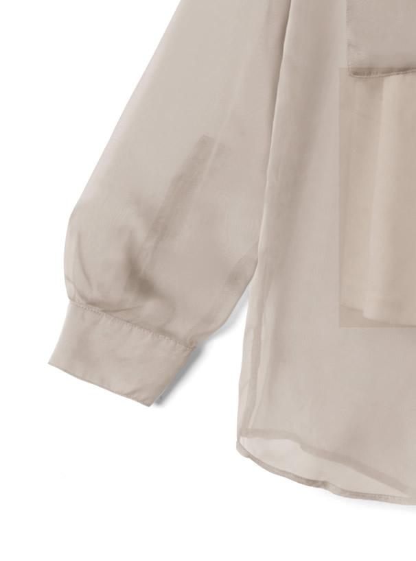 キャミ付きポケットシアーシャツ