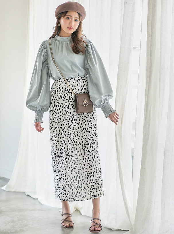 ダルメシアン柄ロングスカート