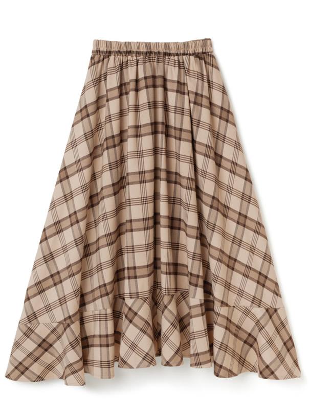 白石麻衣 フリル切替チェックロングスカート