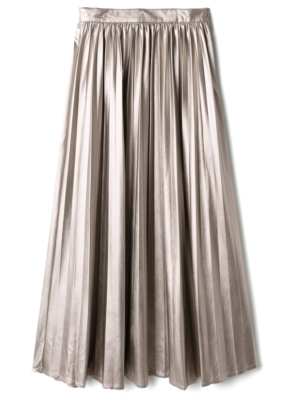 光沢レザープリーツスカート