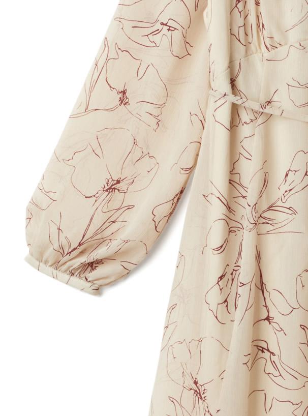 リボン付き花柄楊柳ワンピース