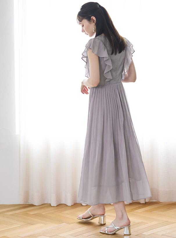 花柄刺繍シフォンプリーツワンピース