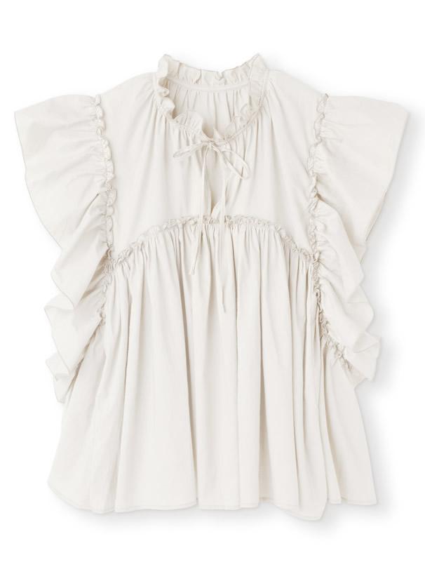 白石麻衣 コットンフリルブラウス