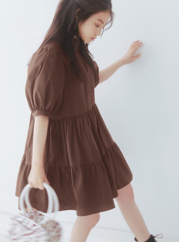 今田美桜 ボリュームティアードシャツワンピース