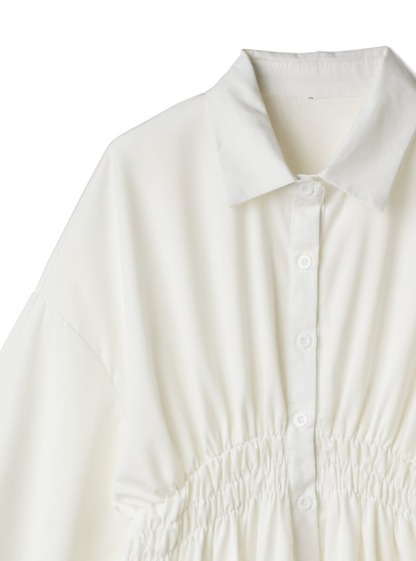 シャーリングシャツワンピース