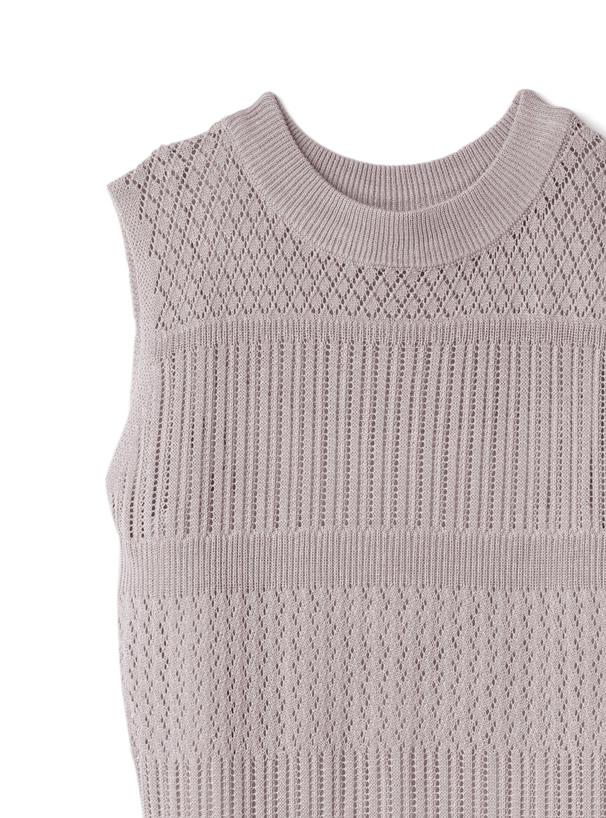 インナー付き透かし編みノースリーブニットワンピース