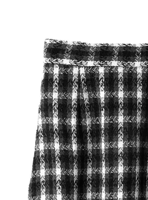 ツイードチェック柄アシンメトリーフレアスカート