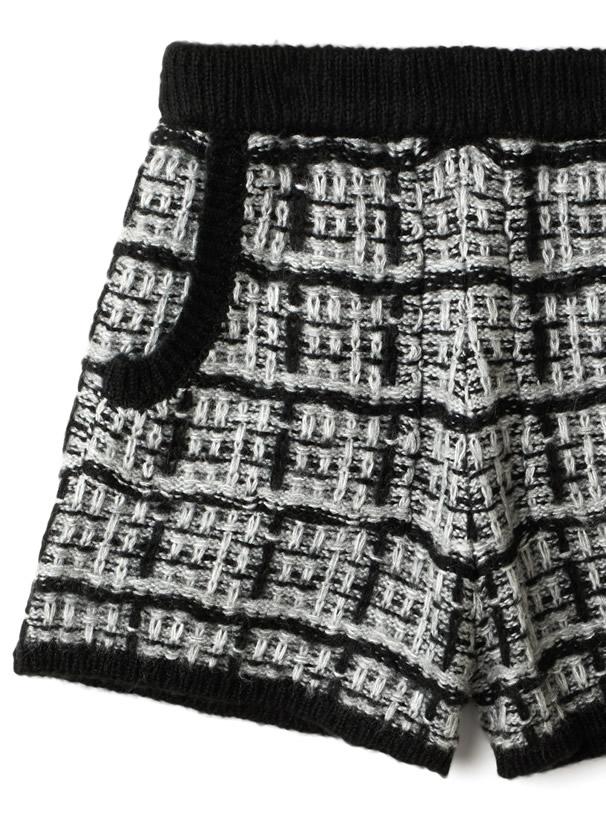 ツイード編みモヘヤニットショートパンツ