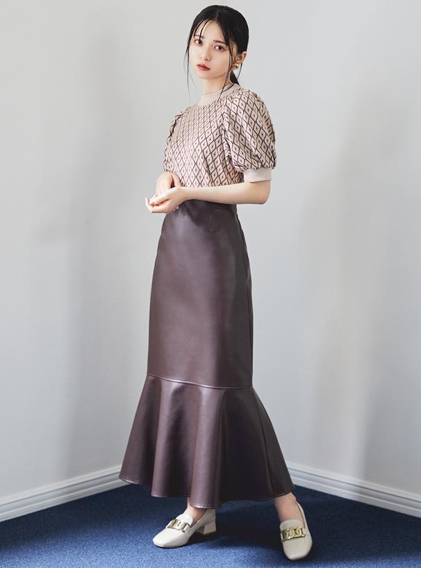 レザーロングマーメイドスカート