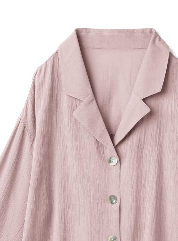 ビッグシェルボタンガーゼテーラードシャツ