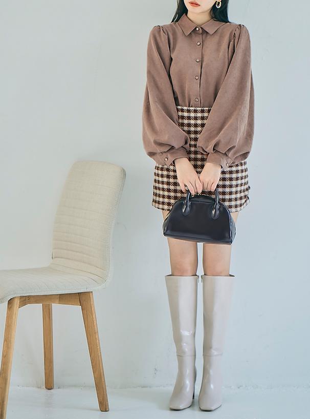 ツイードチェック柄台形ミニスカート
